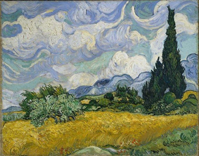 Vincent van Gogh, Graanveld met cipressen, 1889