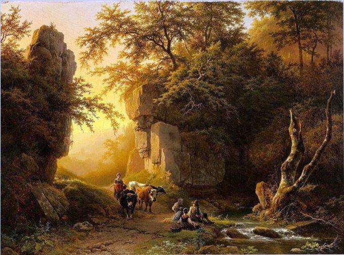 B.C. Koekkoek, Berglandschap bij onderstaande zon