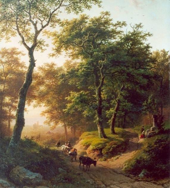 B.C. Koekkoek, Boomrijk landschap bij ondergaande zon