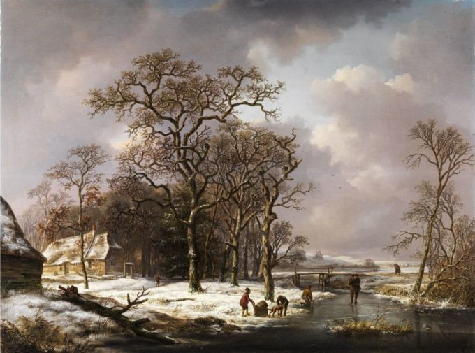 Andreas Schelfhout, Mensen in een winterlandschap, 1839