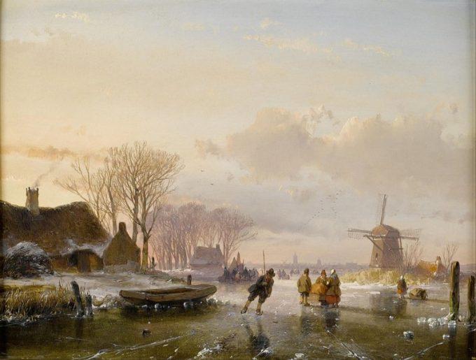 Andreas Schelfhout, Bevroren rivier met Haarlem in de verte