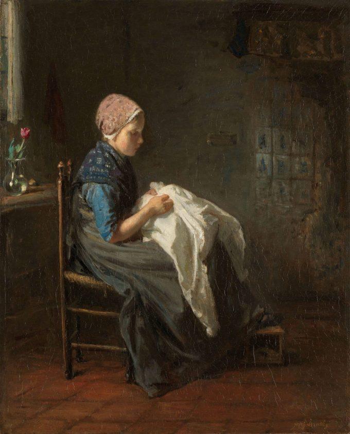 'Het naaistertje', Jozef Israëls, 1850 - 1888