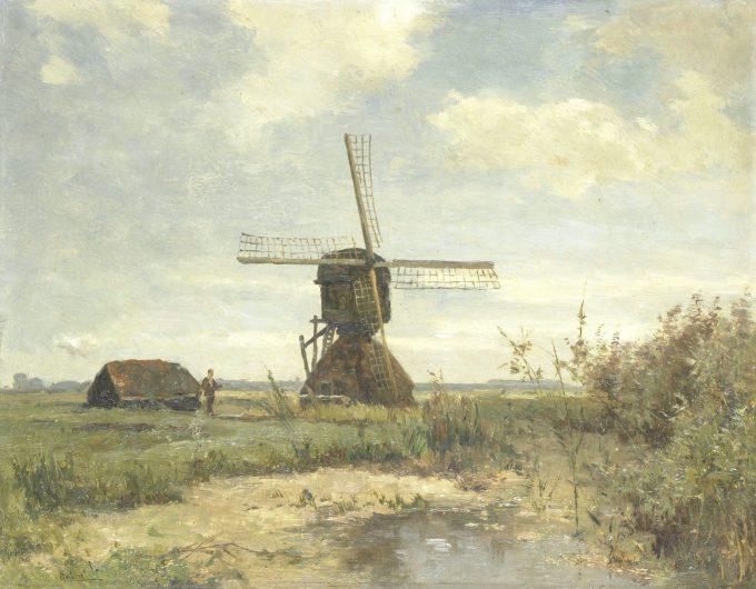 'Zonnige dag': een molen aan een wetering, Paul Joseph Constantin Gabriël, ca. 1860 - ca. 1903