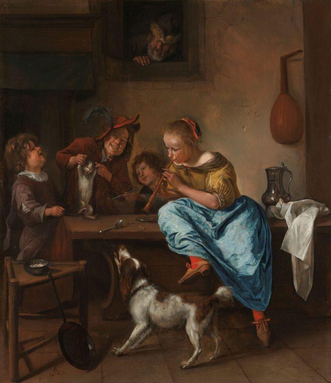 Kinderen leren een poes dansen, bekend als 'De dansles', Jan Havicksz. Steen, 1660 - 1679