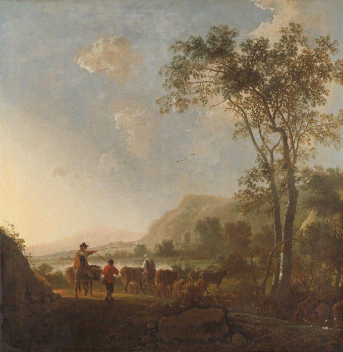 Landschap met herders en vee, Aelbert Cuyp, 1650 - 1660
