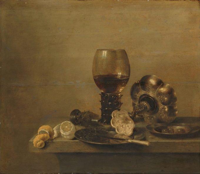 Stilleven met een gebroken glas, Willem Claesz. Heda, 1642