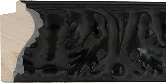 Ornamentlijst zwart, 71x37mm (breedte x hoogte)