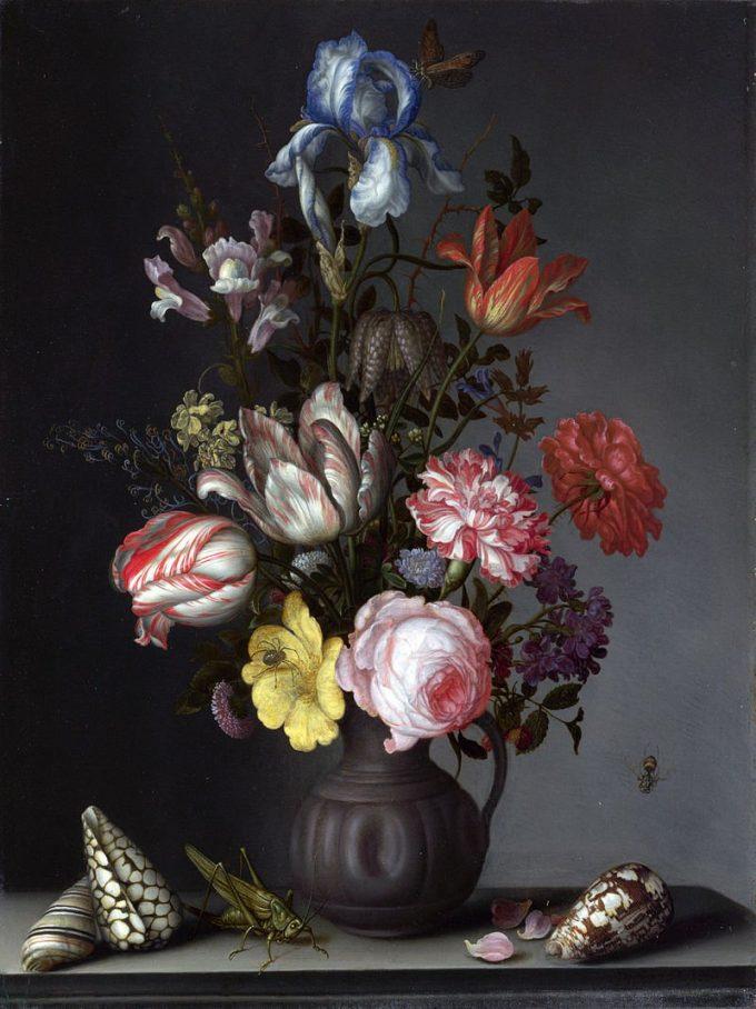 Balthasar van der Ast, Bloemen in een vaas met schelpen en insecten, 1630