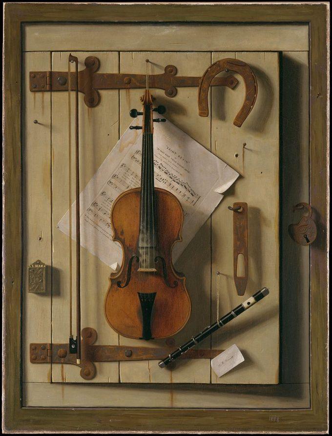 William Michael Harnett, Stilleven met viool en bladmuziek, 1888