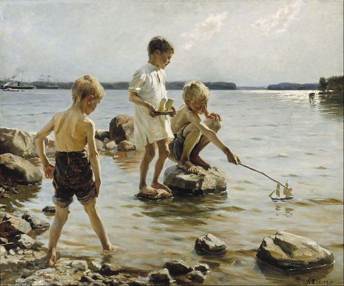 Albert Edelfelt, Spelende jongens bij de kust, 1884