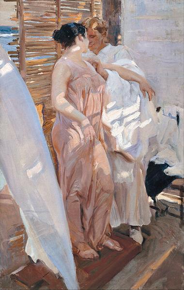 Joaquin Sorolla y Bastida, De roze jurk, na het baden, 1916